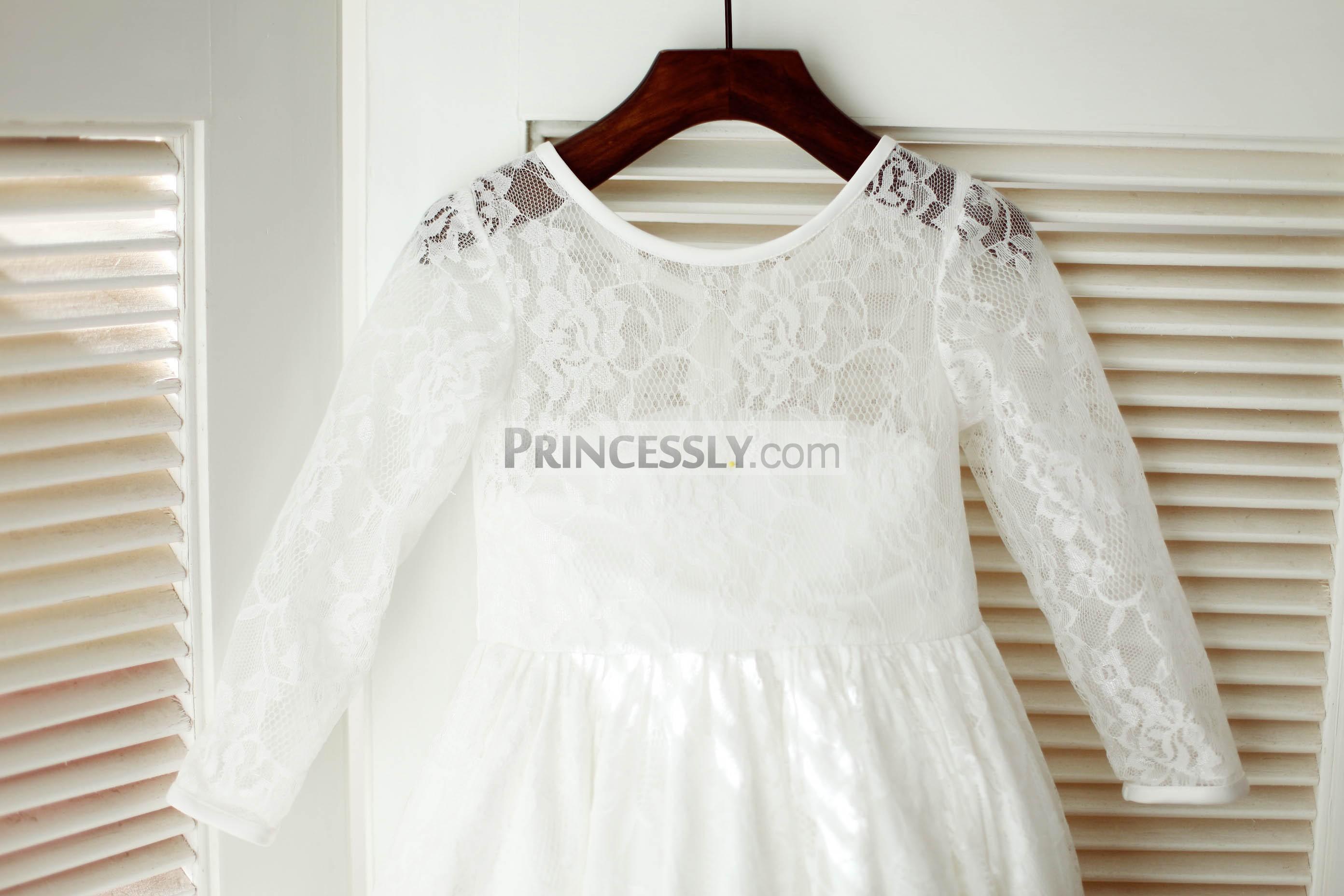 Ivory Lace Long Sleeves Flower Girl Dress with Flounce Hem