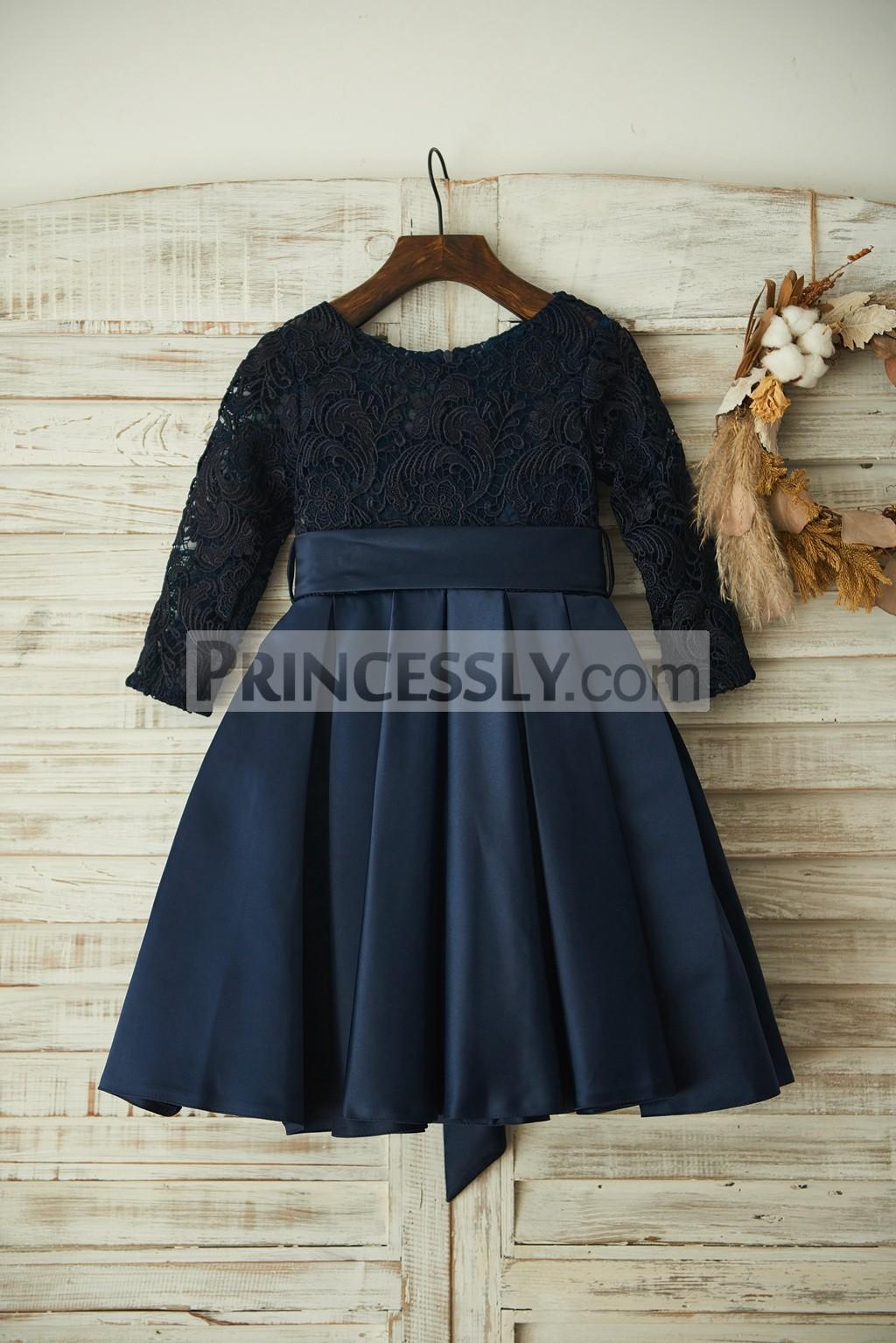 Navy Blue Lace Long Sleeves Satin Wedding Flower Girl