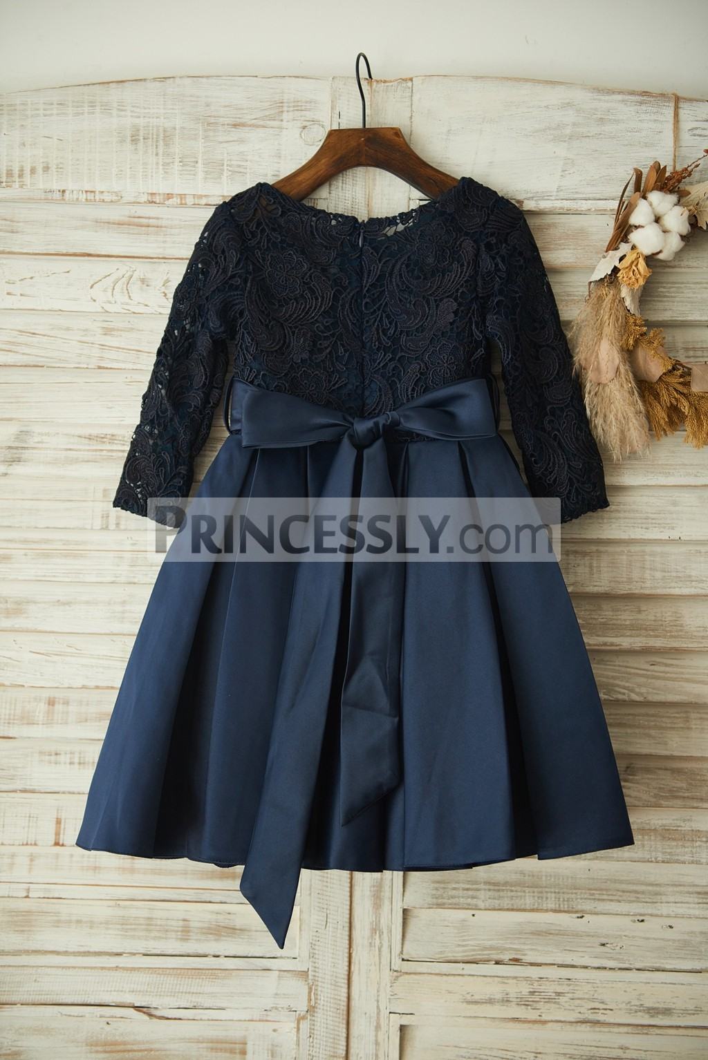 f5b91c2f6f08 Navy Blue Lace Long Sleeves Satin Wedding Flower Girl Dress with ...