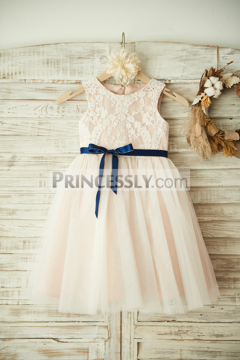 Ivory Lace Tulle Pink Lining Flower Girl Dress With Navy Blue Sash