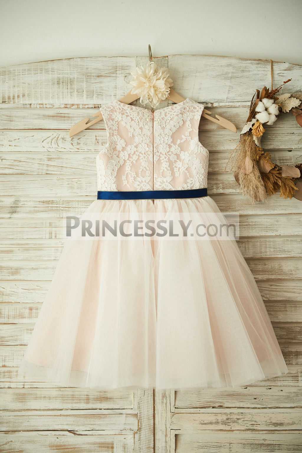 Ivory lace tulle pink lining flower girl dress with navy for Blue sash for wedding dress