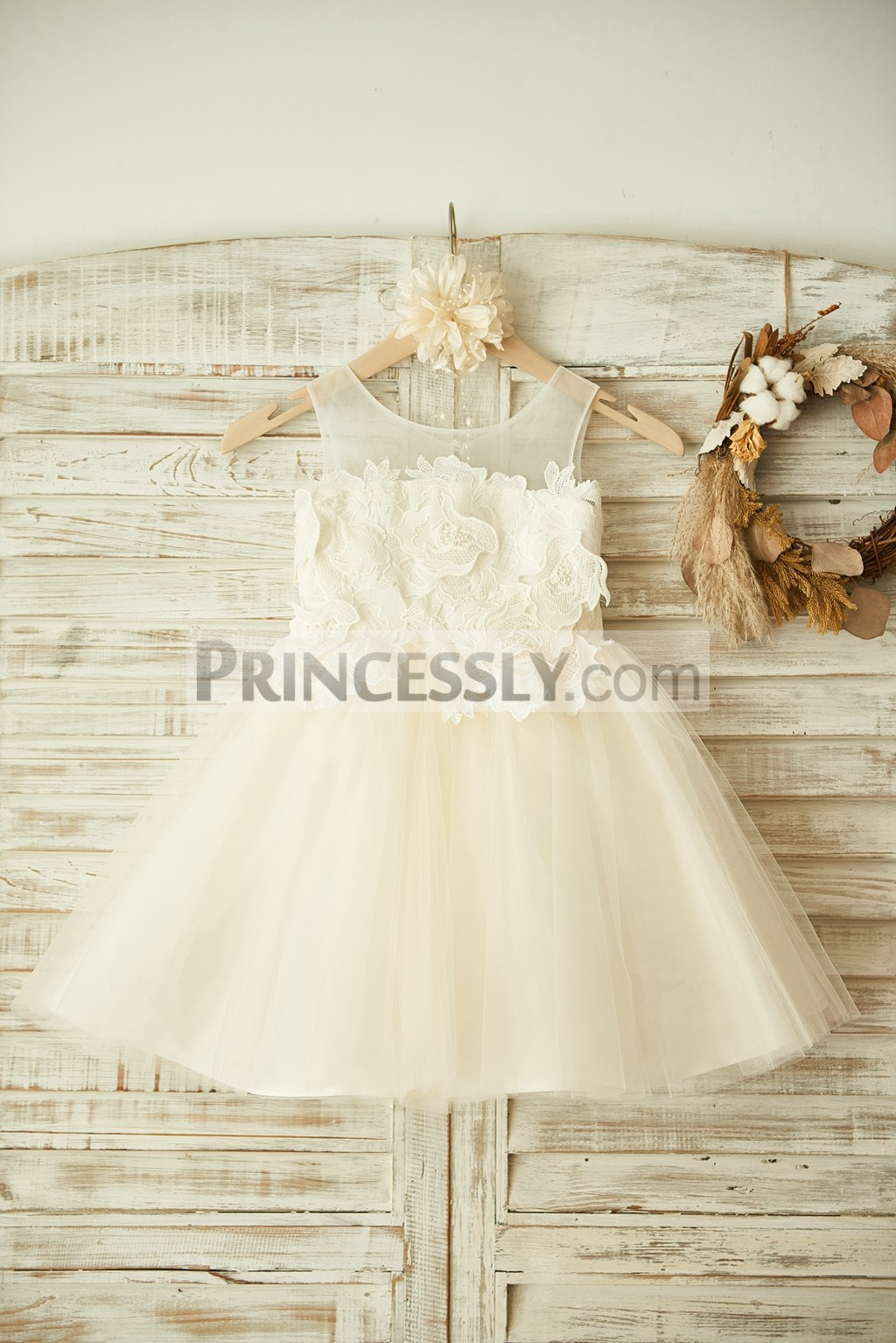 Sheer Neck Ivory Cotton Lace Champagne Tulle Flower Girl Dress