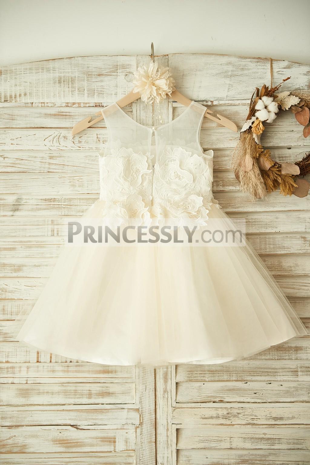 Sheer neck keyhole champagne tulle wedding baby girl dress