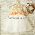 9f638acf7d4 Champagne Lace Tulle Sheer Back Flower Girl Dress with Beaded Sash   Buttons