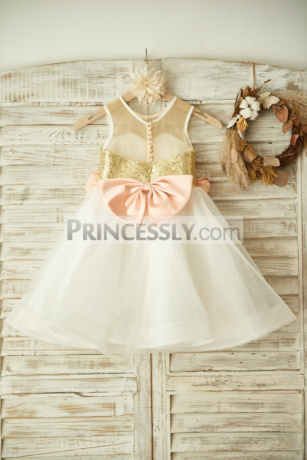 Sheer Gold Sequin Ivory Tulle Flower Girl Dress with Peach Pink Flowers
