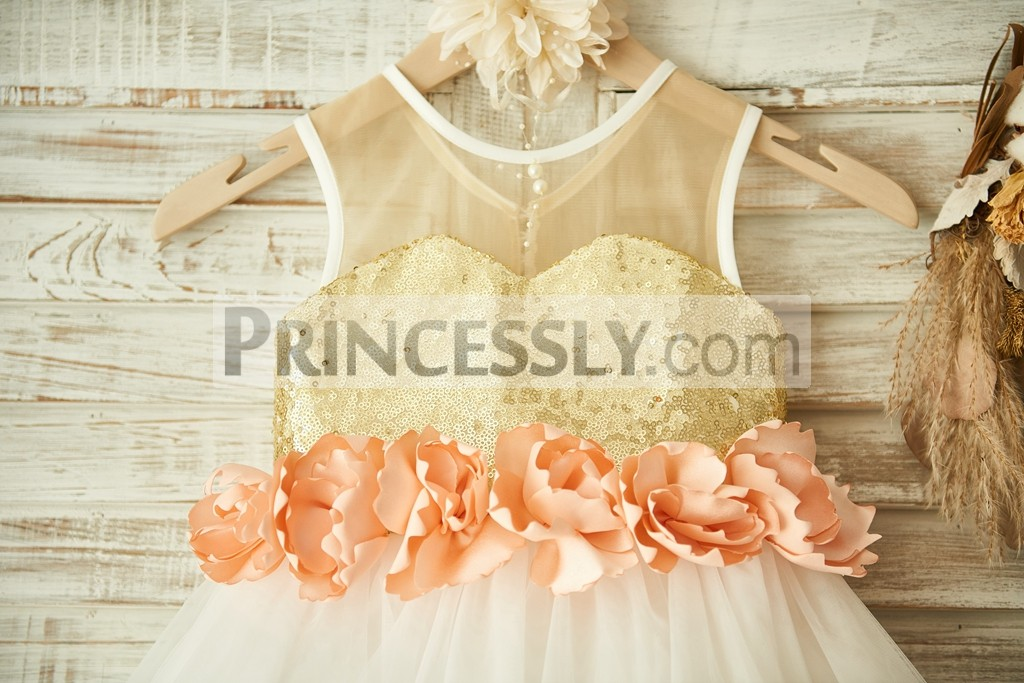 528ca08c2 ... ivory tulle wedding baby girl dress · Buttons big bow decorated back ·  Sheer top gold sequin sweetheart bodice with peach pink flowers