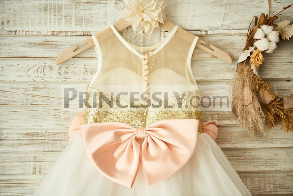 8a88d2489b7 Sheer Gold Sequin Ivory Tulle Flower Girl Dress with Peach Pink ...