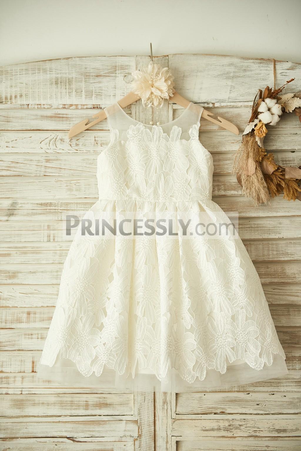Ivory Sheer Neck Lace Applique Tulle Wedding Flower Girl Dress