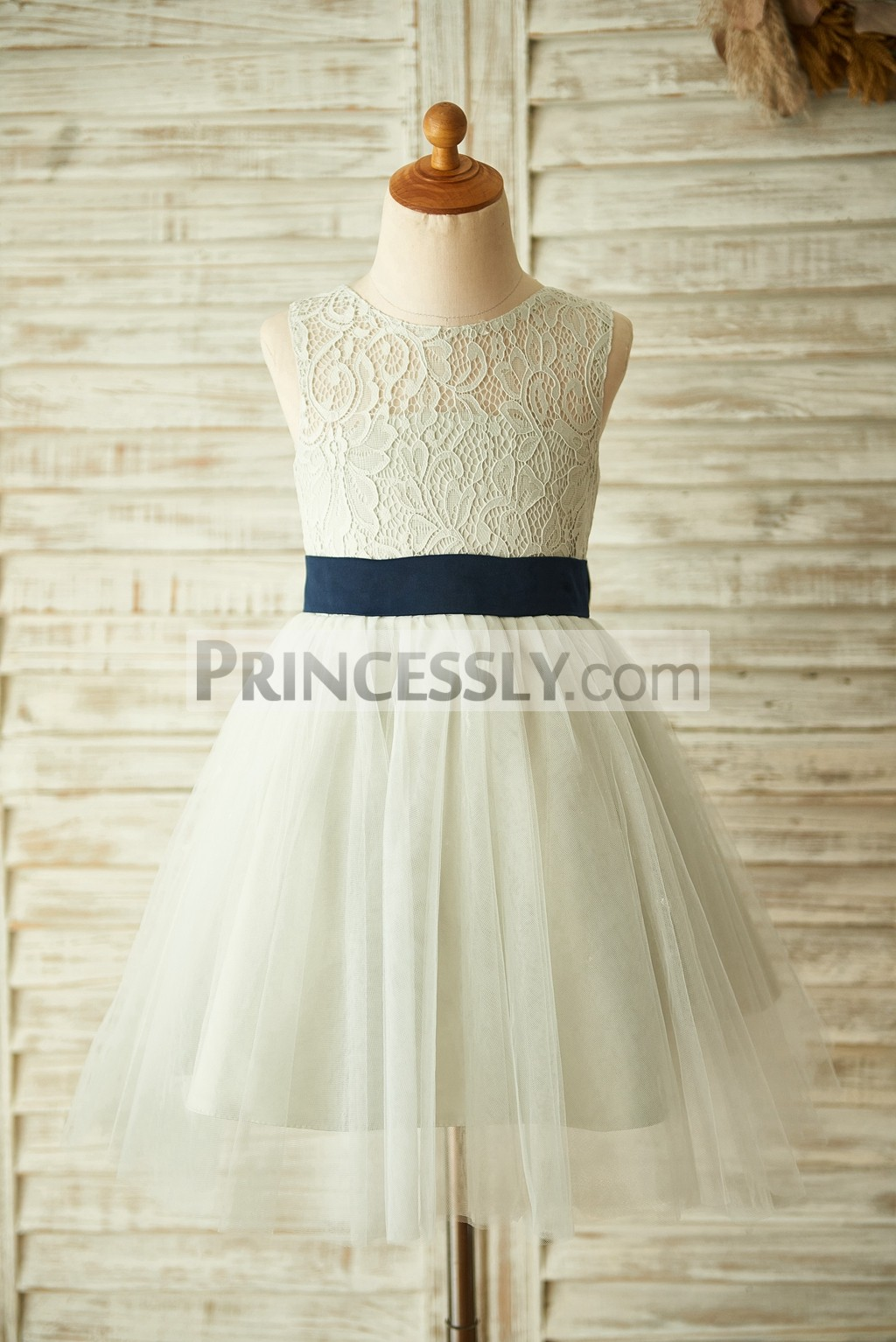 Silver gray lace tulle flower girl dress with navy blue belt