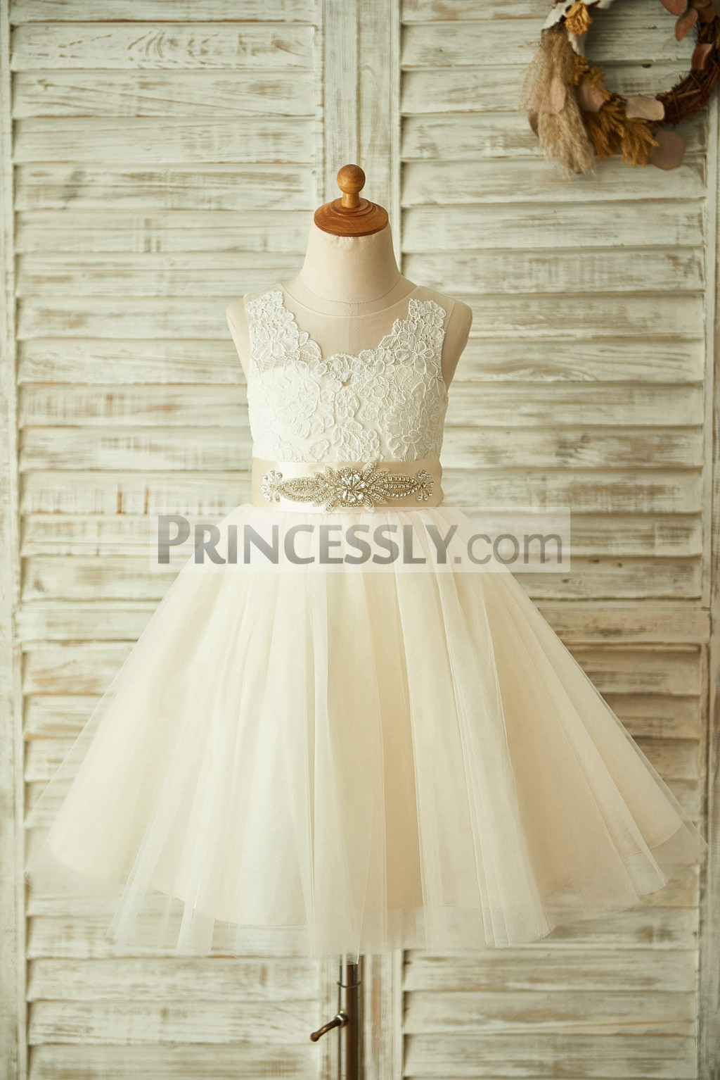 db3aaa296c2 Champagne Lace Tulle Sheer Back Flower Girl Dress with Beaded Sash ...