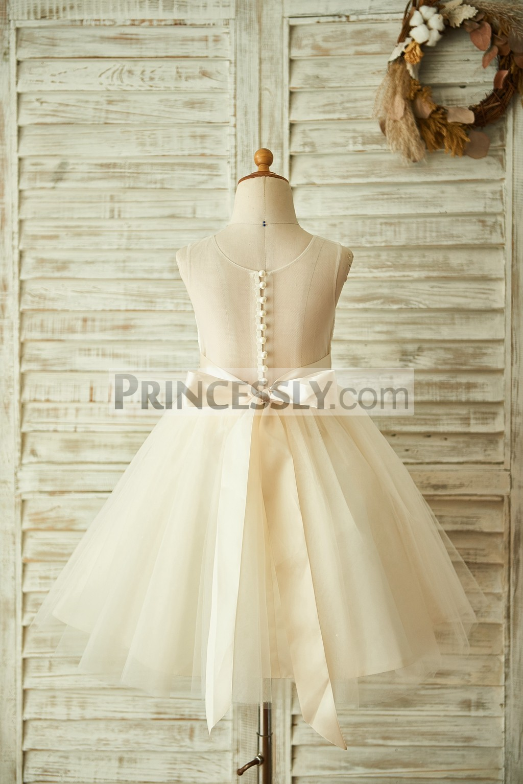 Champagne see through back with buttons wedding baby girl dress