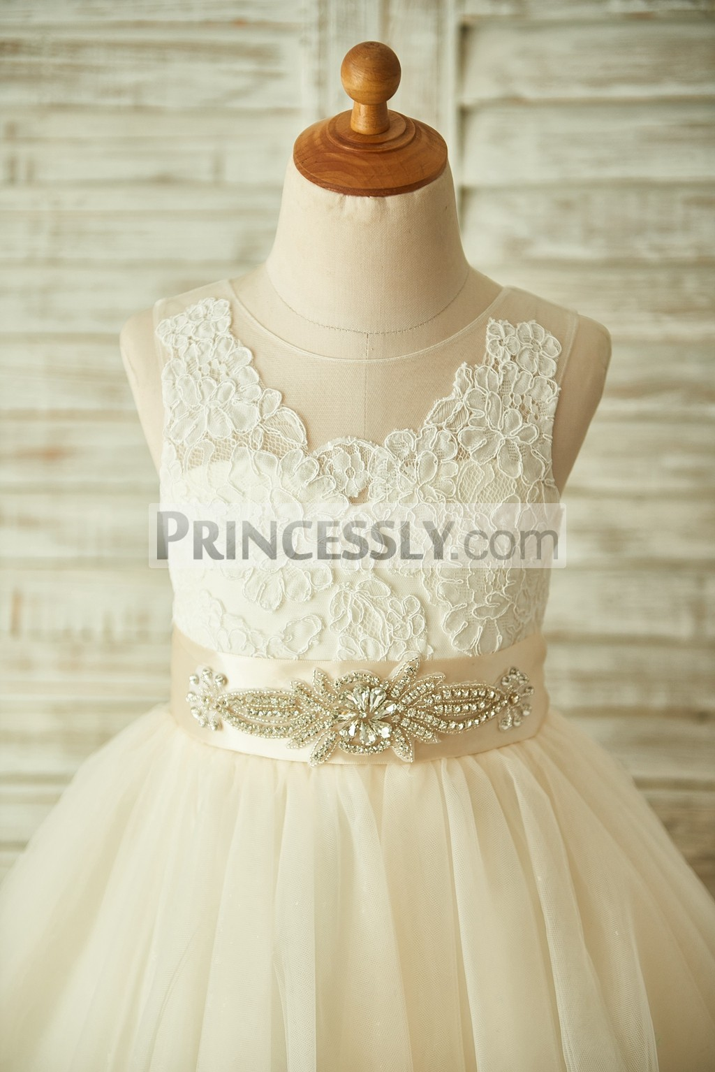 Champagne floral lace bodice with beading detachable belt