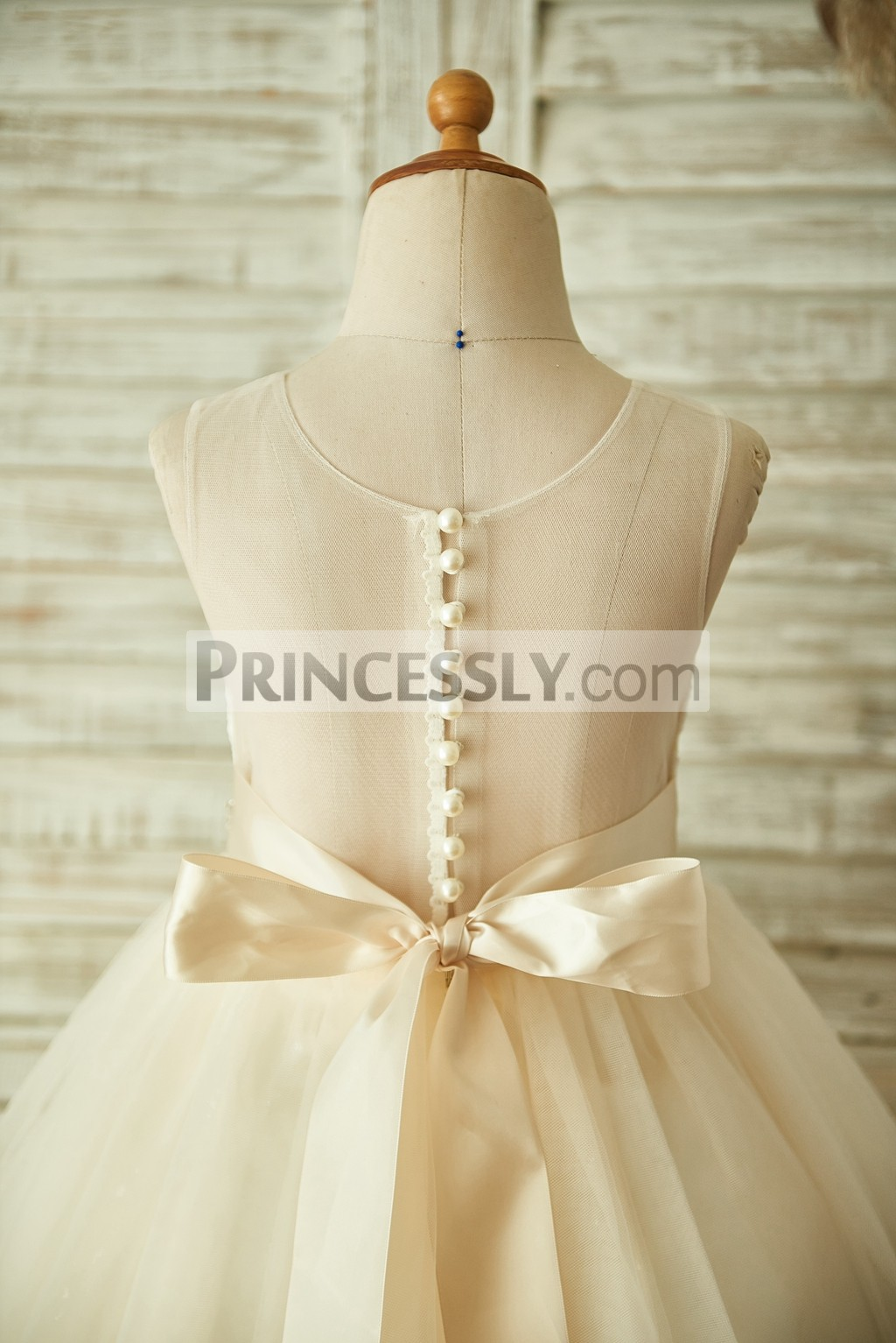 Champagne Lace Tulle Sheer Back Flower Girl Dress With