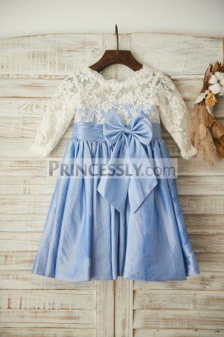 princessly-com-k1003362-ivory-lace-blue-taffeta-long-sleeves-wedding-flower-girl-with-bow-31