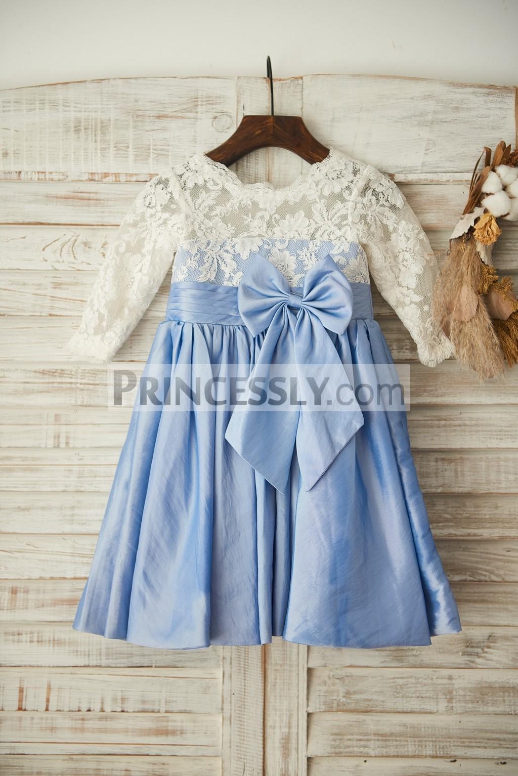 Ivory lace blue taffeta flower girl dress