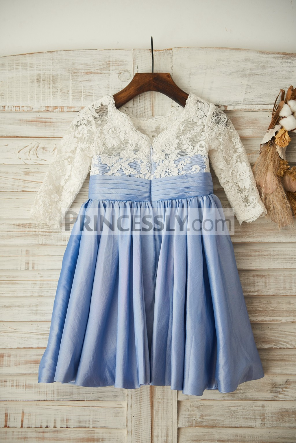 Ivory lace blue taffeta wedding baby girl dress