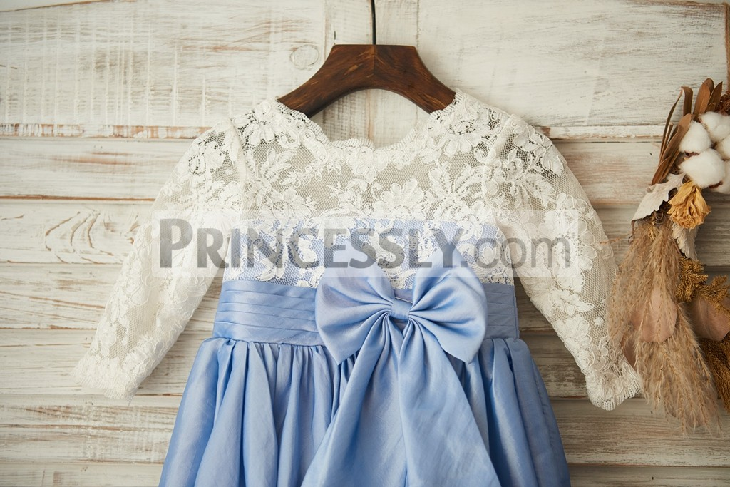 Long sleeves sheer illusion bodice with blue satin lining