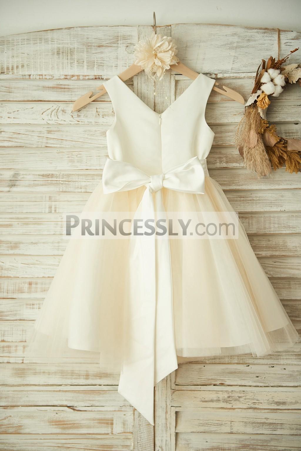 Open V Neck Satin Tulle Wedding Baby Girl Dress
