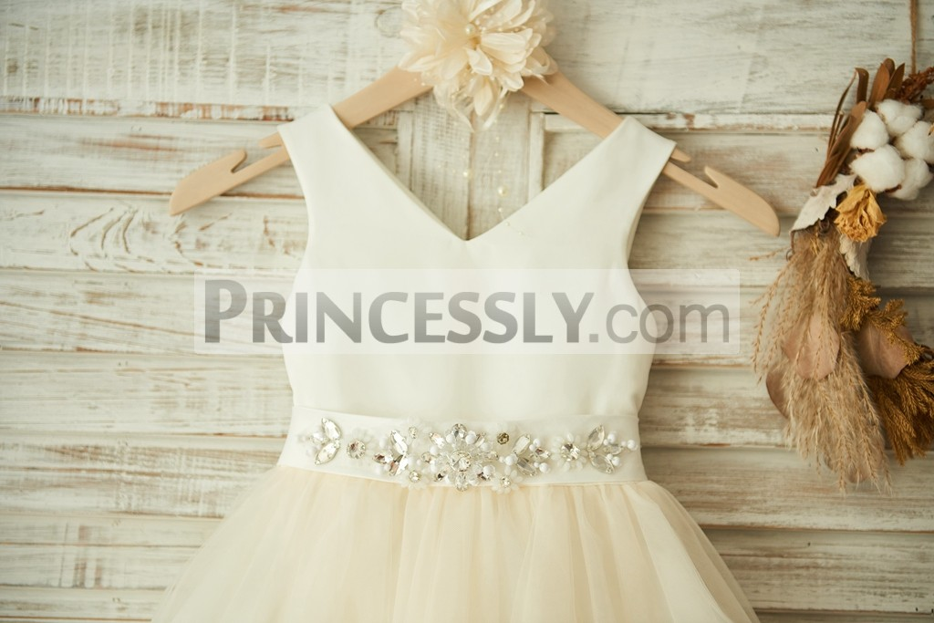 Open V neck panel satin bodice with crystals detachable sash