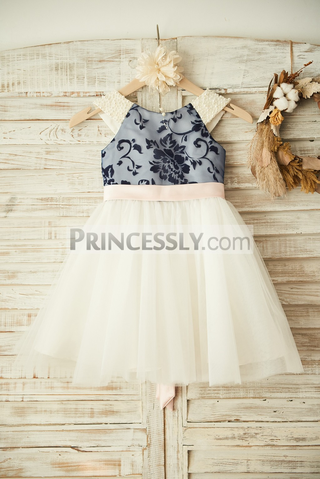Pearls Shoulder V Back Navy Blue Lace Ivory Tulle Flower Girl Dress