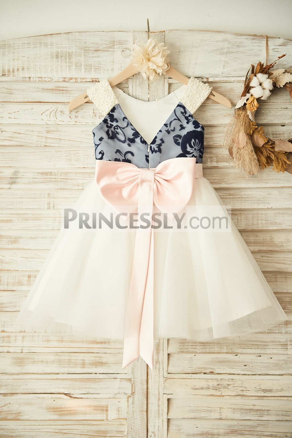 V back lace tulle wedding baby girl dress