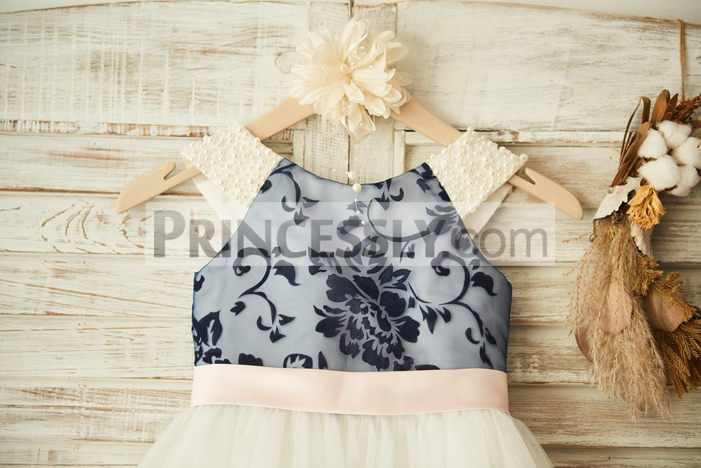 Pearls navy blue printing lace with pink belt bodice