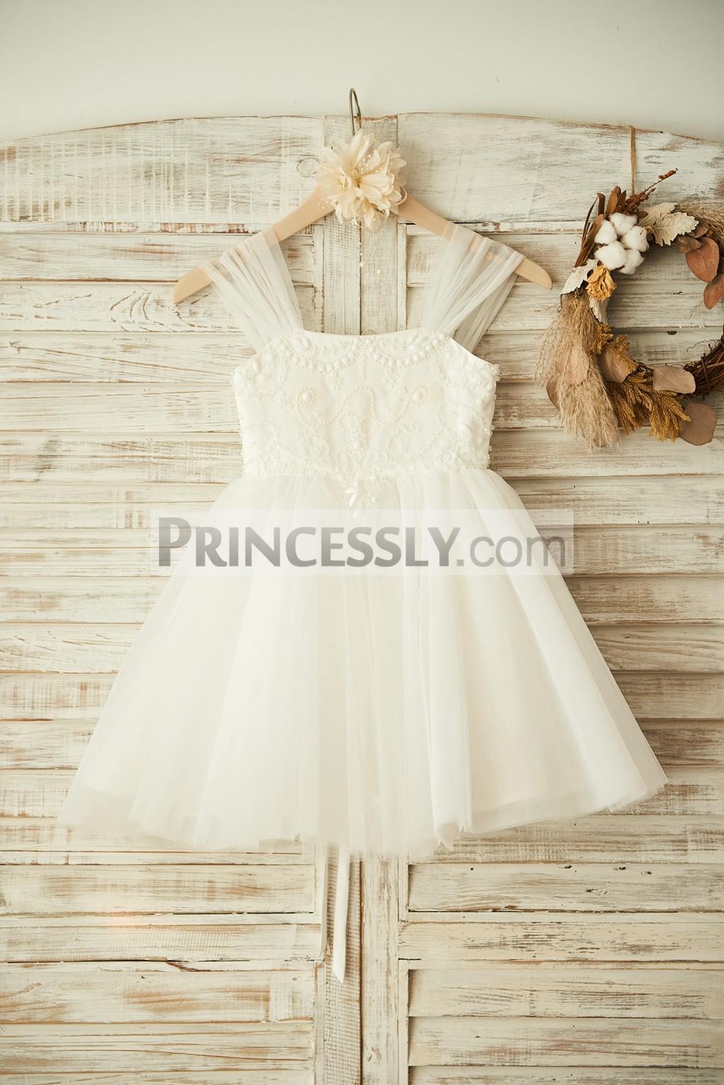 Boho beach lace up back ivory tulle beaded flower girl for Flower girl dress beach wedding
