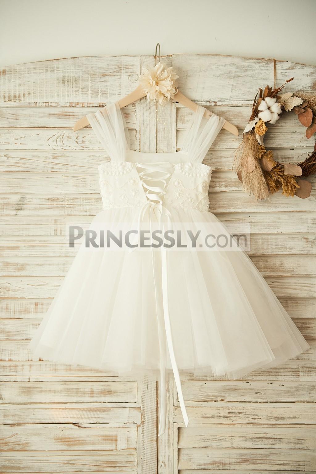 654270063ff Boho Beach Lace-up Back Ivory Tulle Beaded Flower Girl Dress