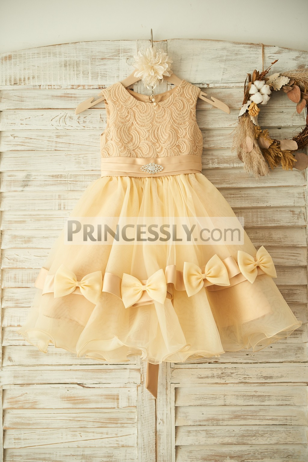 Champagne Lace Organza Flower Girl Dress