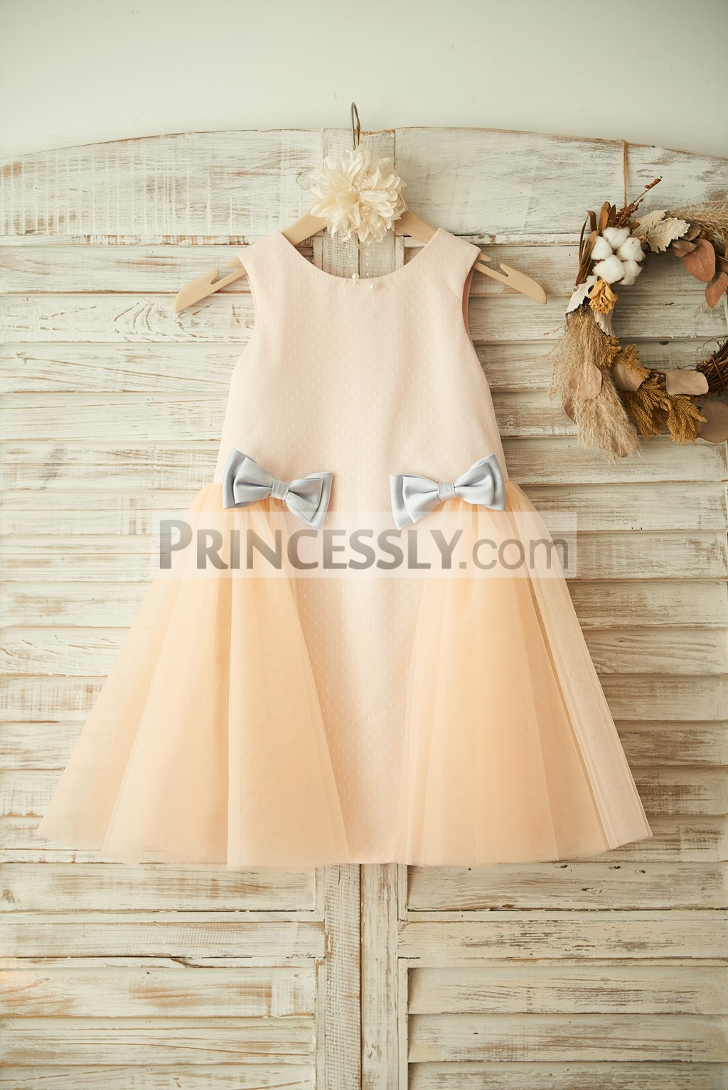 d26c62f690d Champagne Polka Dot Tulle Flower Girl Dress with Silver Gray Bows ...