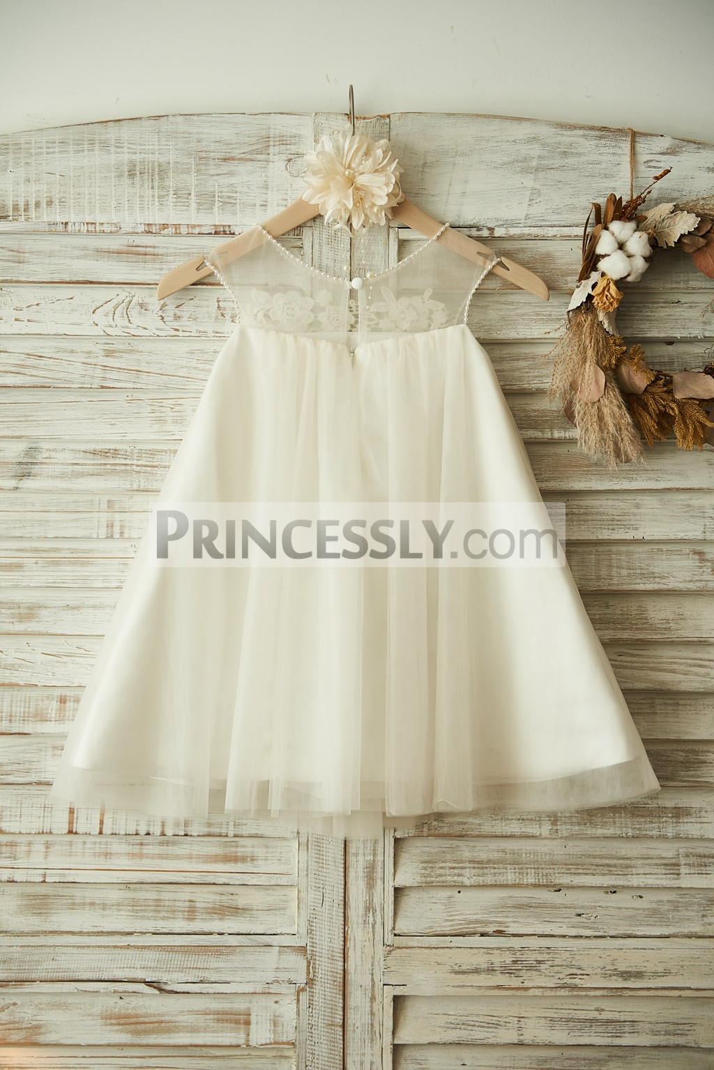 A-line Sheer Ivory Tulle Wedding Baby Girl Dress
