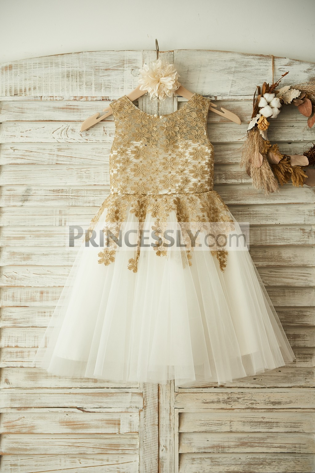 Gold Crochet Lace Pleated Ivory Tulle Flower Girl Dress