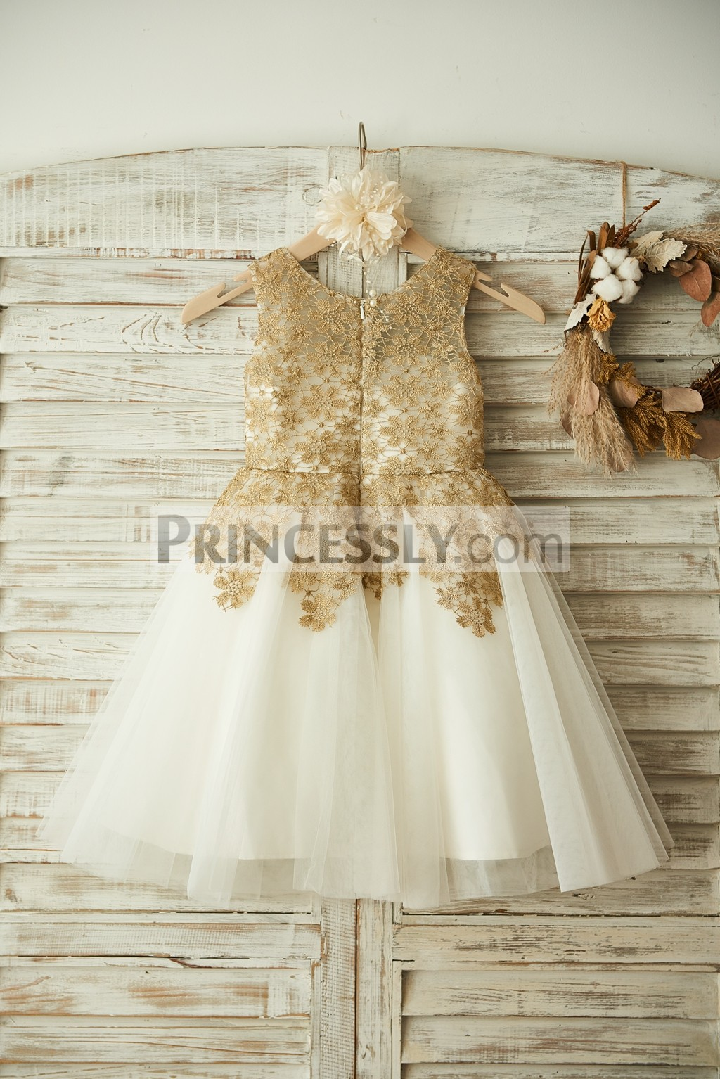 Gold Lace Ivory Tulle Wedding Baby Girl Dress