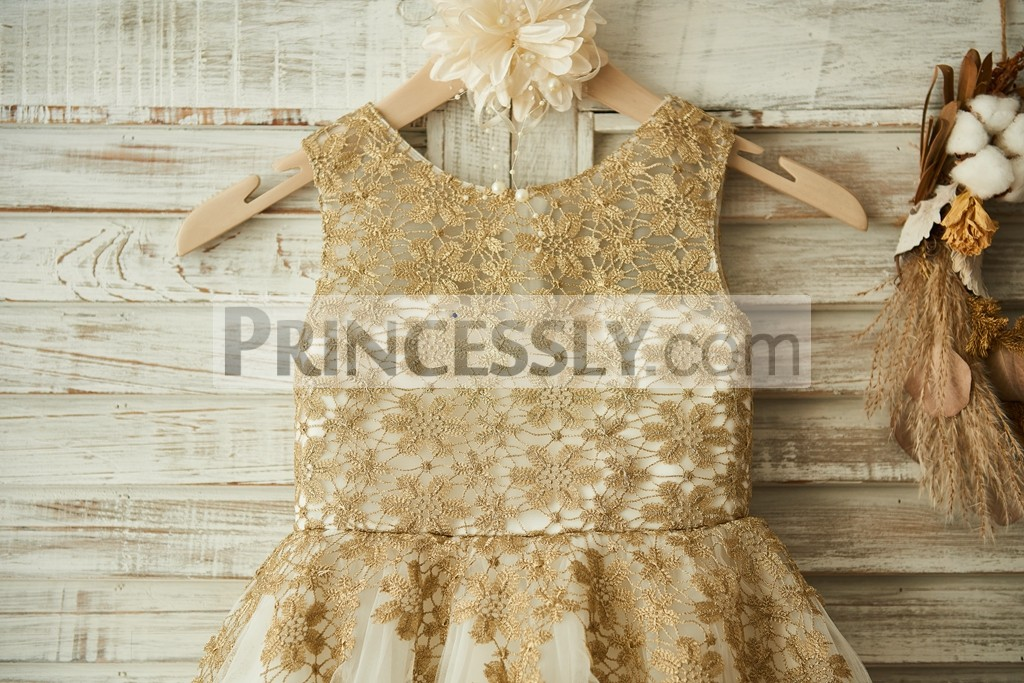 Gold Crochet Sheer Lace Overlay Bodice with Sweetheart Inside