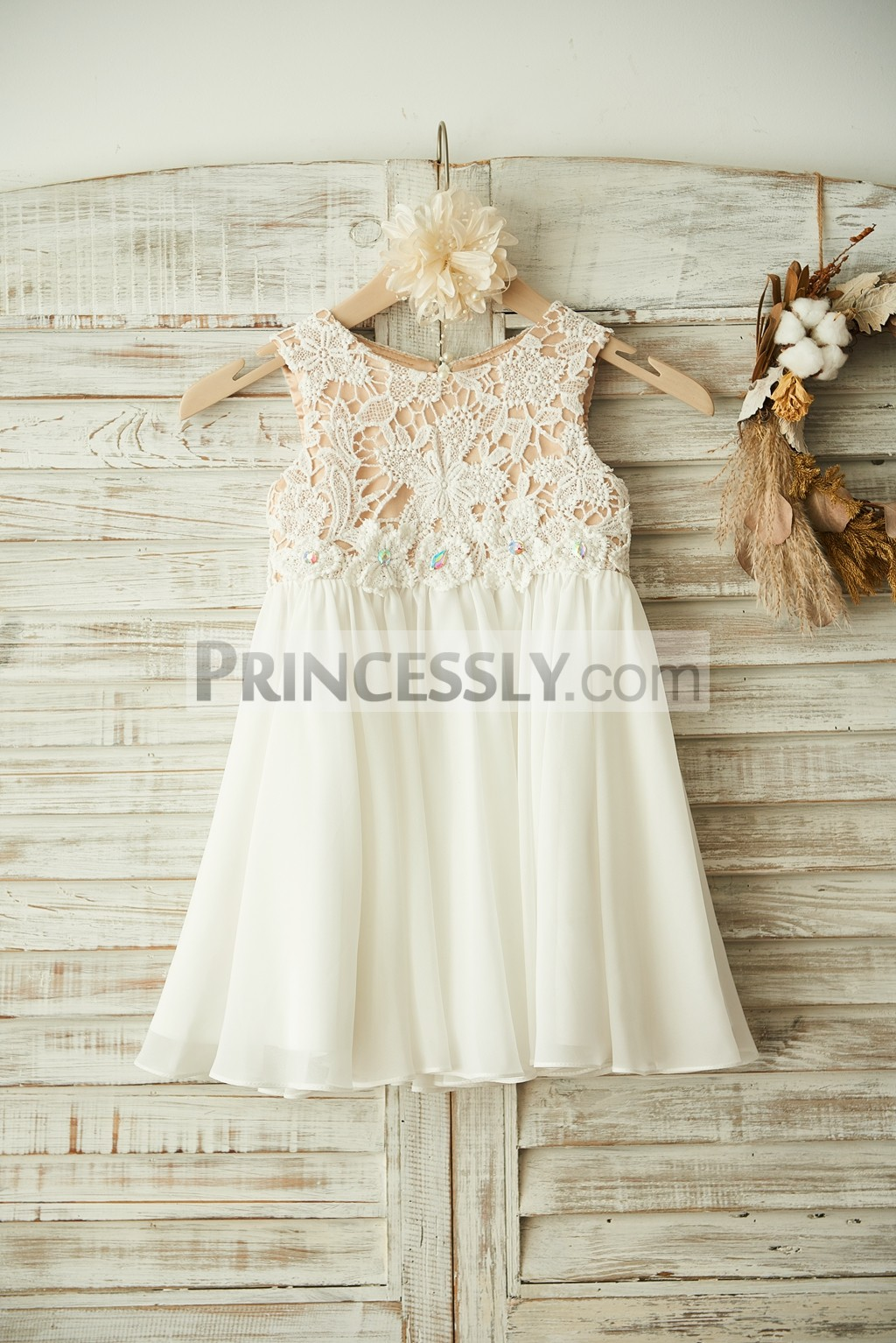 Boho beach ivory lace chiffon flower girl dress with for Flower girls wedding dress