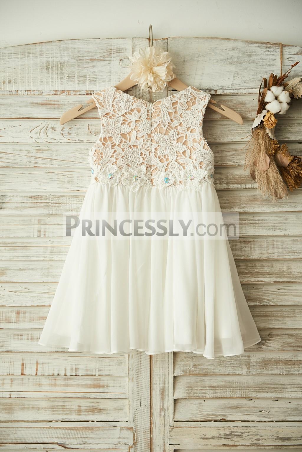 Champagne Satin Lining Lace Cover Chiffon Wedding Baby Girl Dress