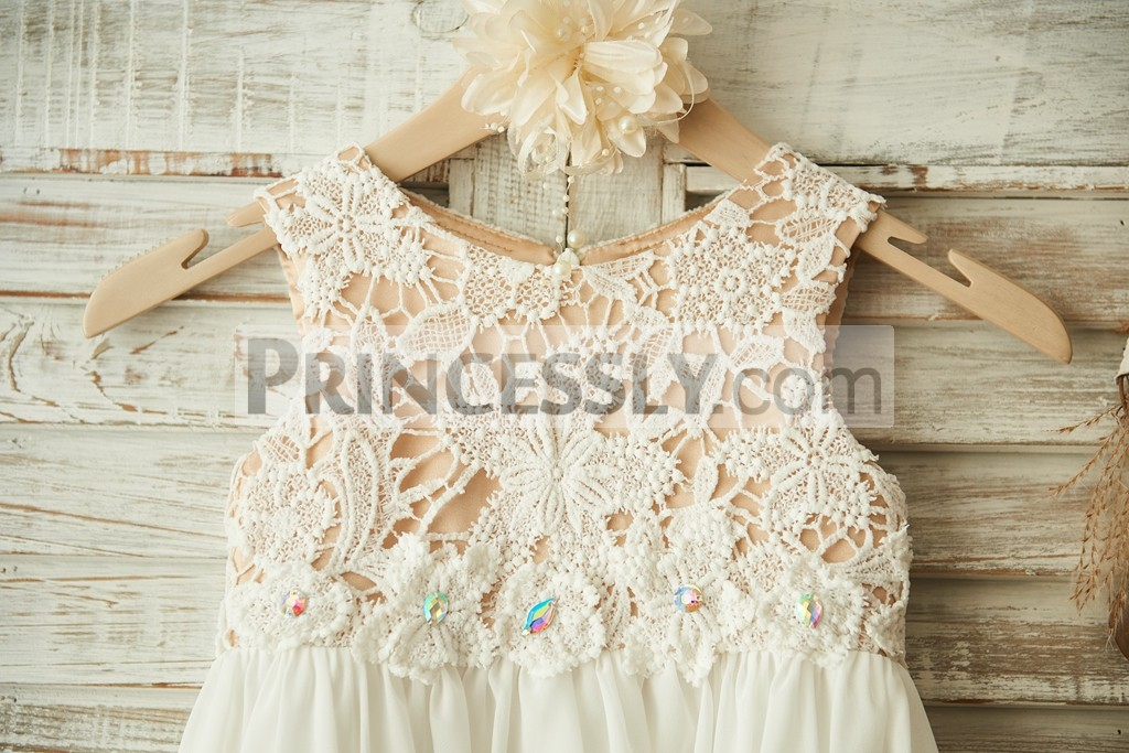 Boho Beach Ivory Lace Chiffon Flower Girl Dress With