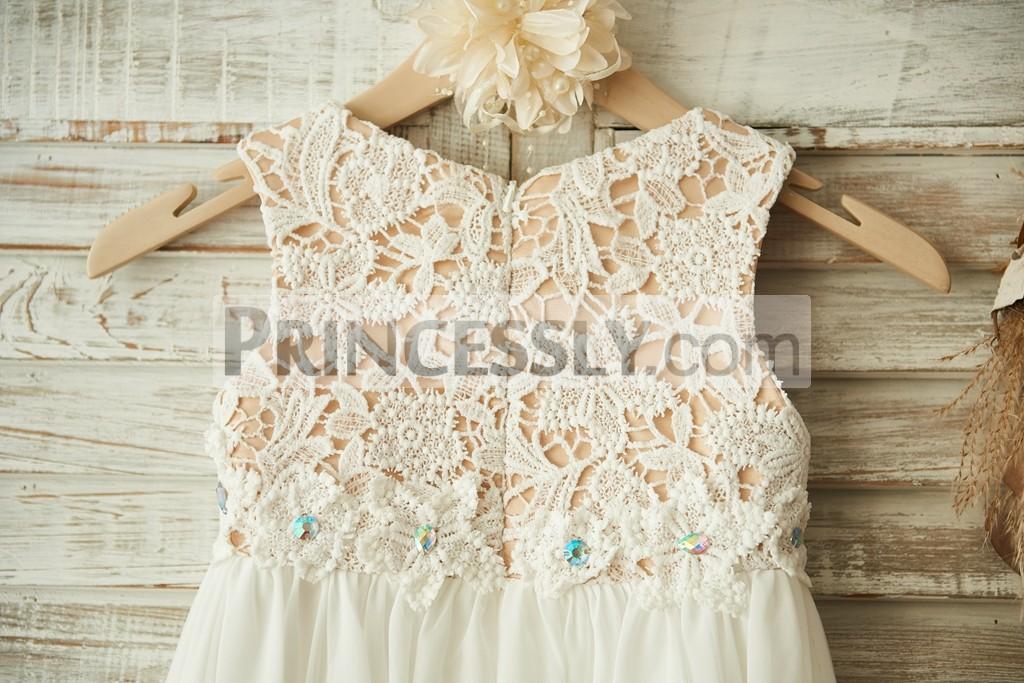 Boho Beach Ivory Lace Chiffon Flower Girl Dress with a57a7533dfa3