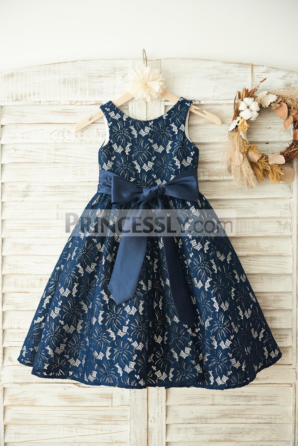 effafe482c8 Navy Blue Lace Ivory Satin Lining Flower Girl Dress with Sash