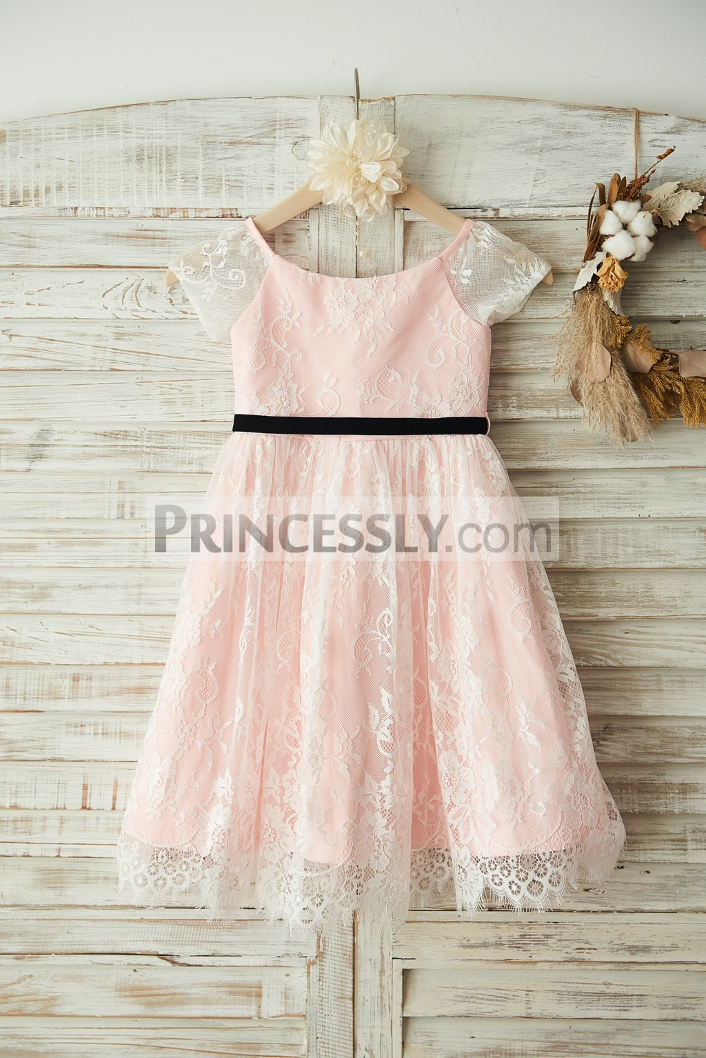 Ivory Lace Pink Lining Short Sleeves Flower Girl Dress