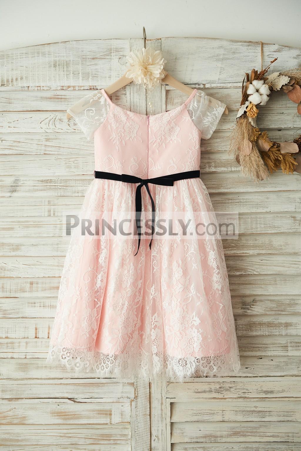 Ivory Lace Pink Satin Lining Wedding Baby Girl Dress