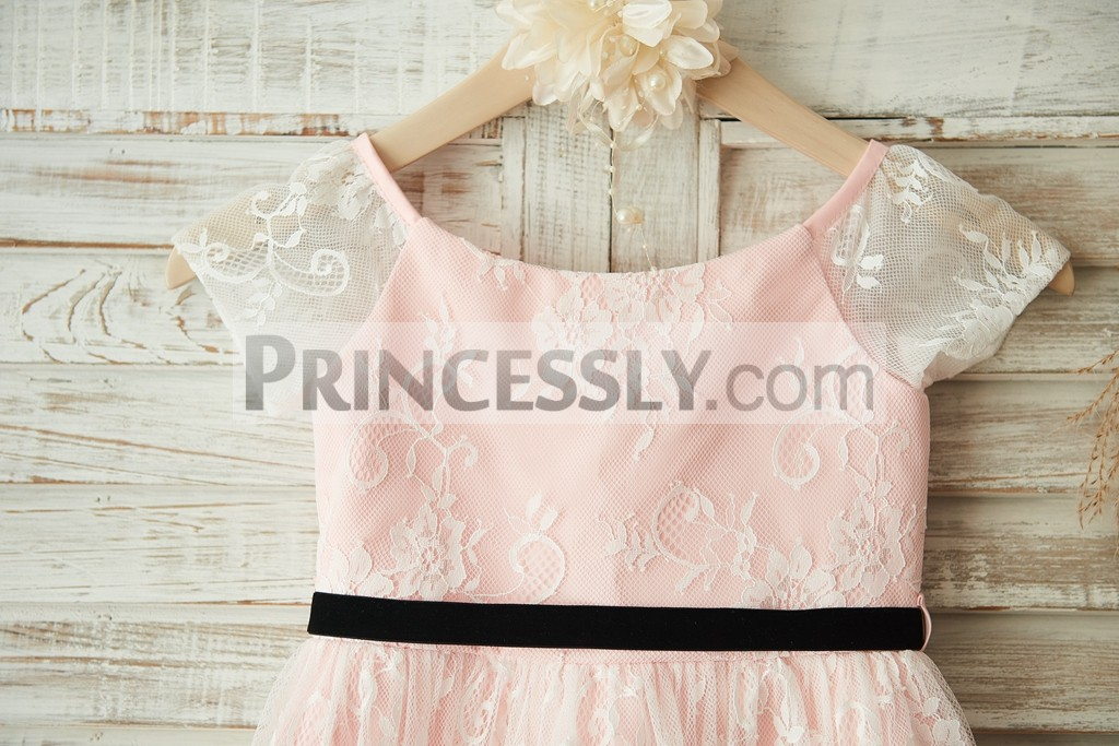 Sheer Lace Short Sleeves Bodice with Black Belt
