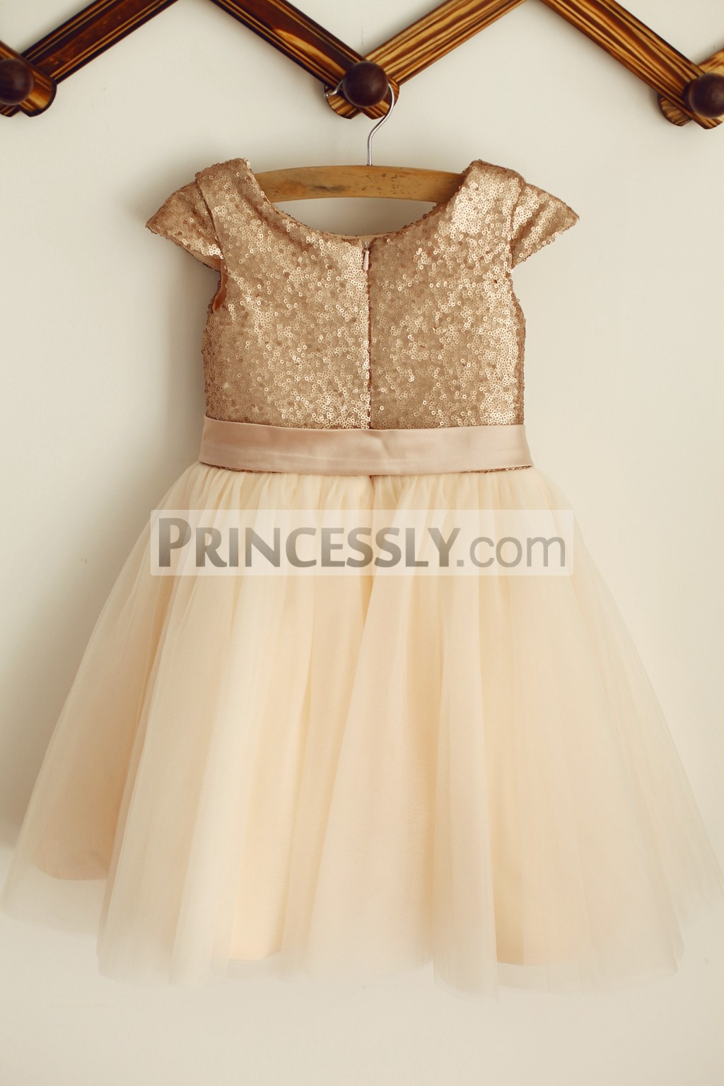Champagne Sequins Tulle Wedding Baby Girl Dress
