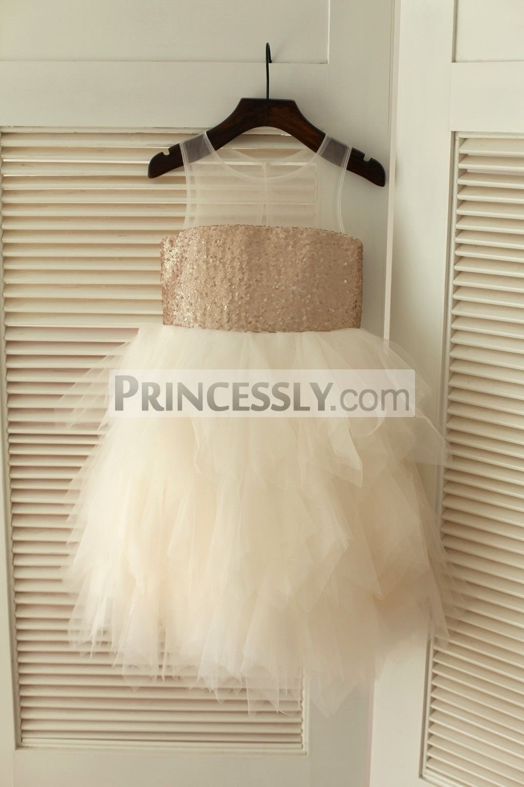 Sheer Neck Champagne Sequins Ivory Feathered Tulle Skirt Flower Girl Dress