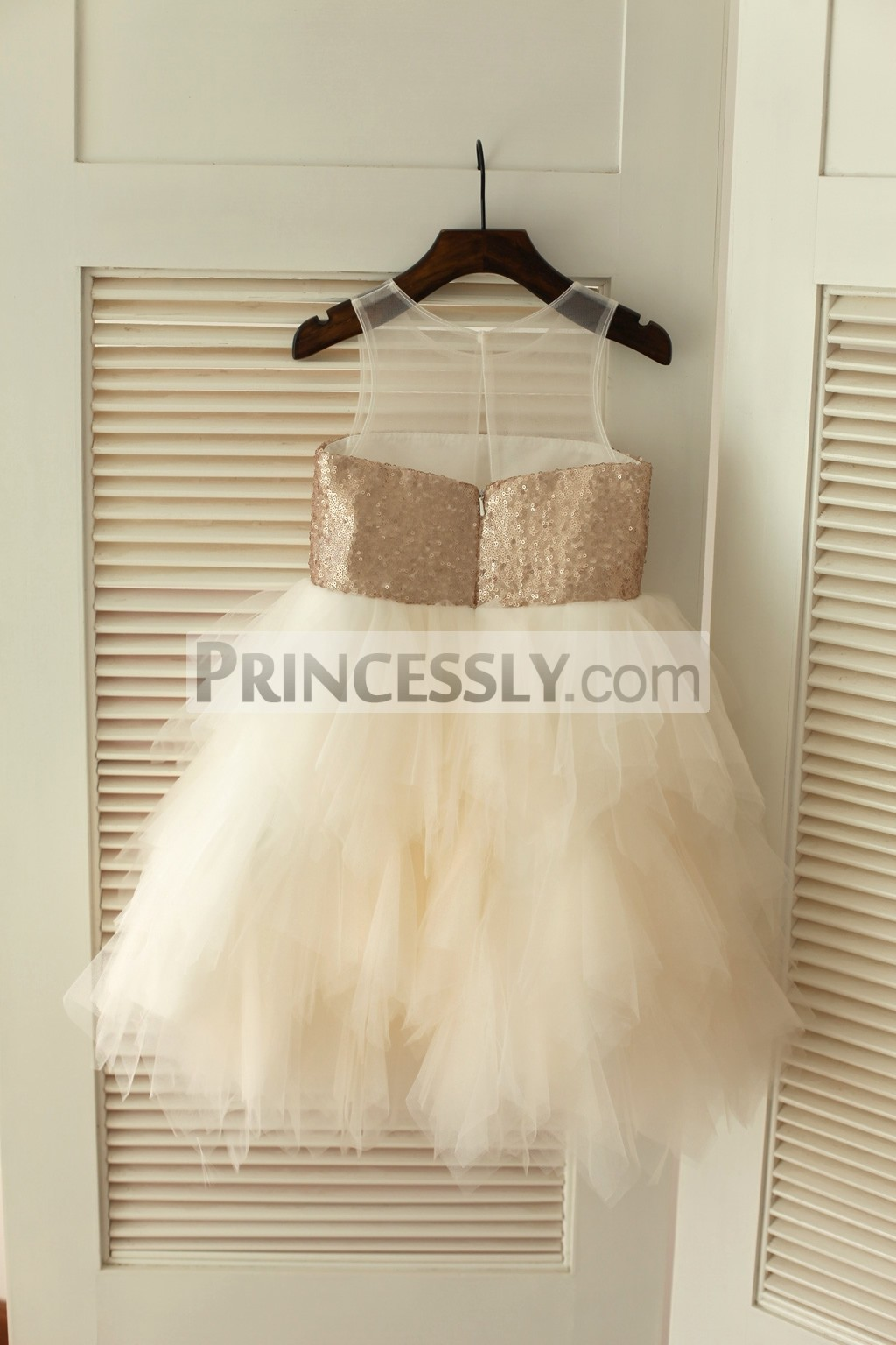 Sheer Champagne Sequins Ivory Tulle Wedding Baby Girl Dress