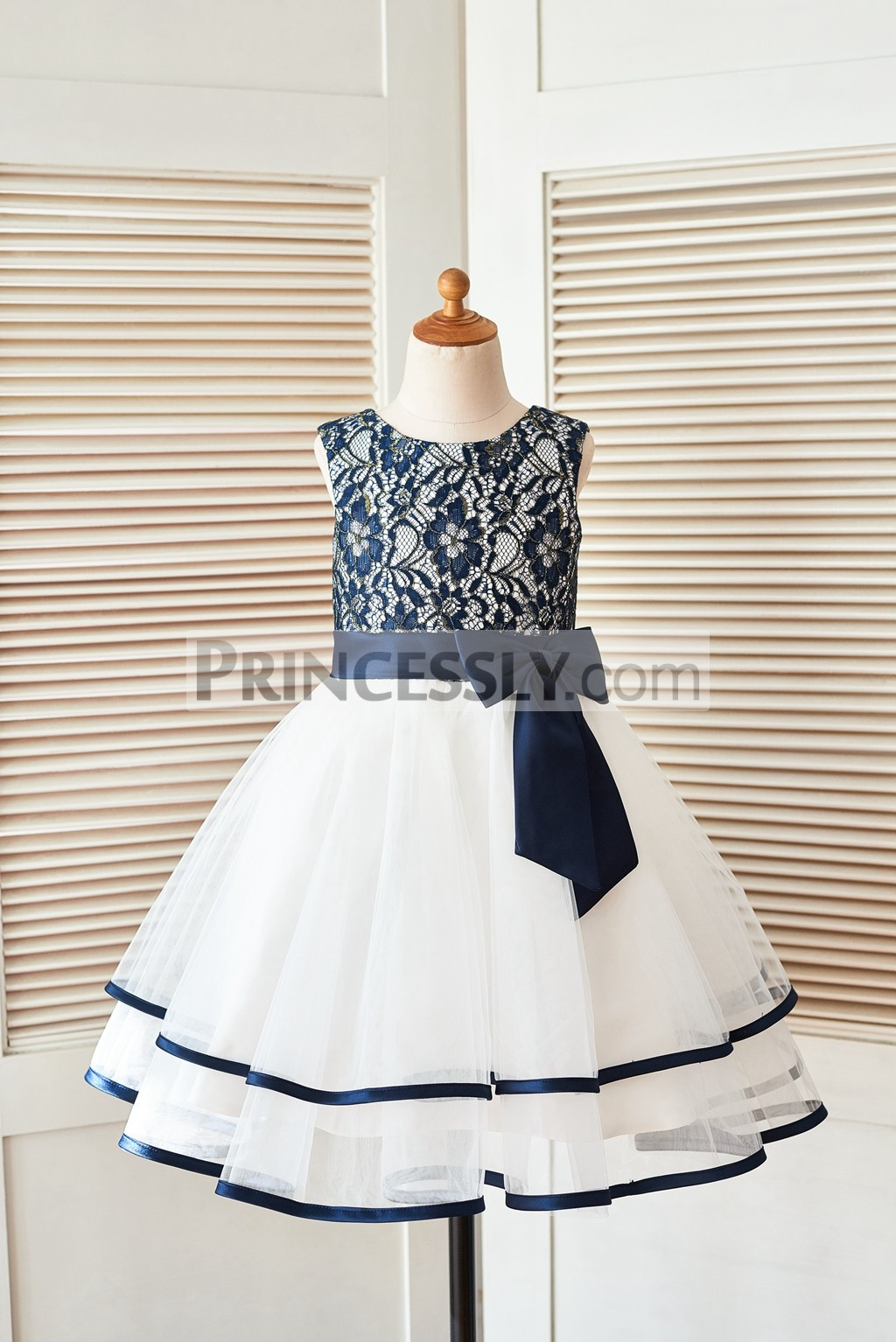 Navy Blue Gold Lace Ivory Tulle Layered Flower Girl Dress With Bow