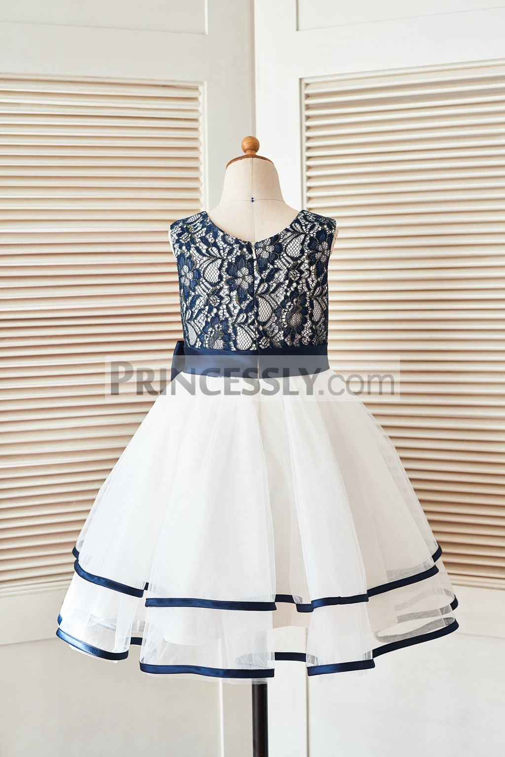 Navy blue lace ivory tulle wedding baby girl dress
