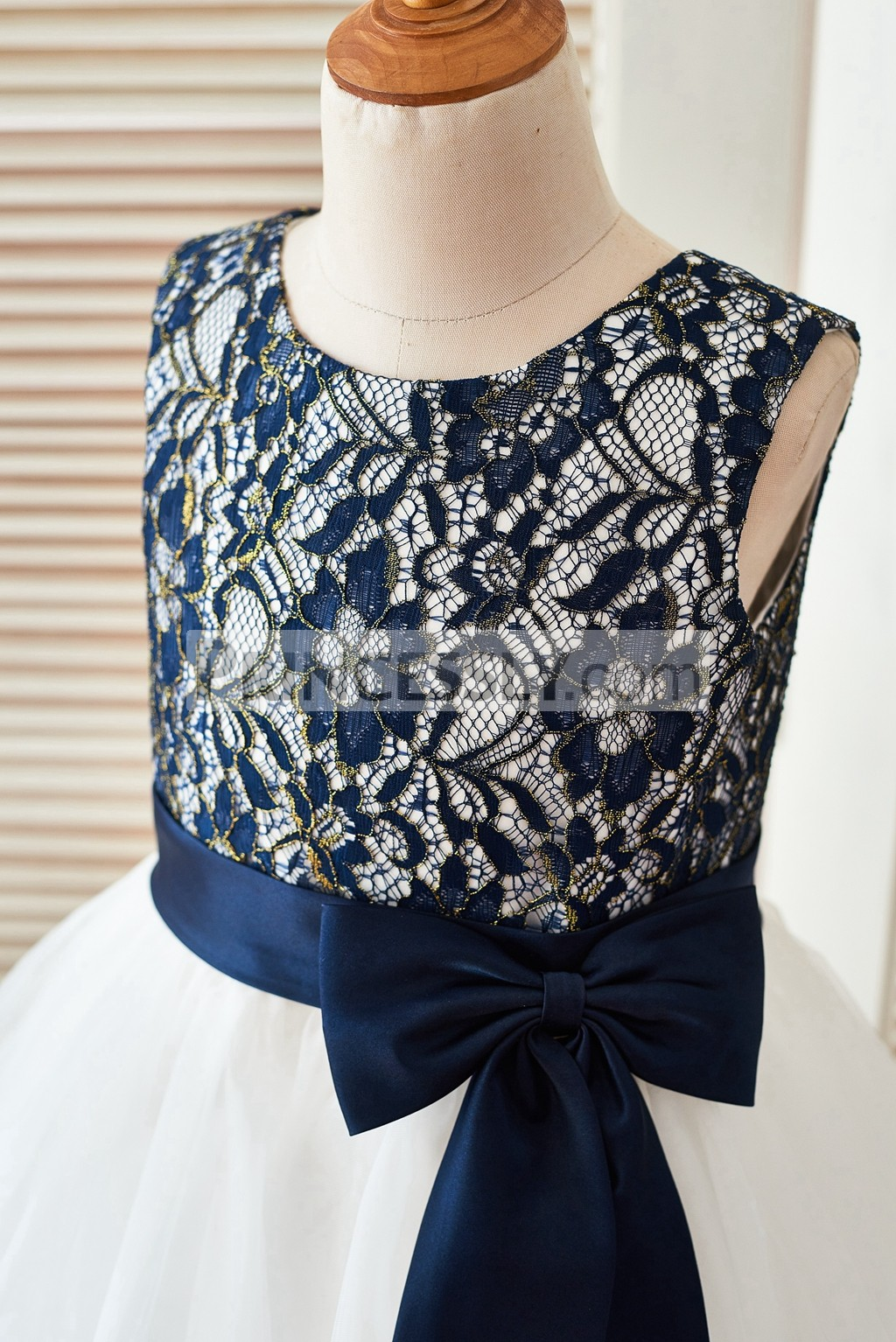 Navy blue gold lace bodice in scoop neckline and sleeveless