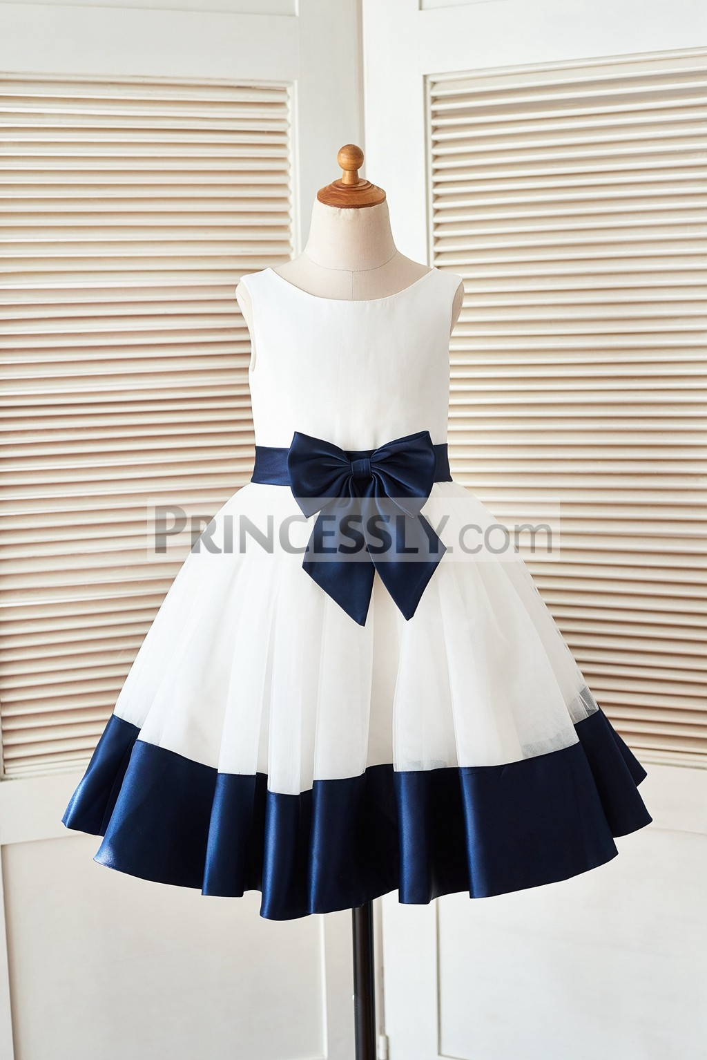 Ivory Satin Tulle Flower Girl Dress With Navy Blue Belt