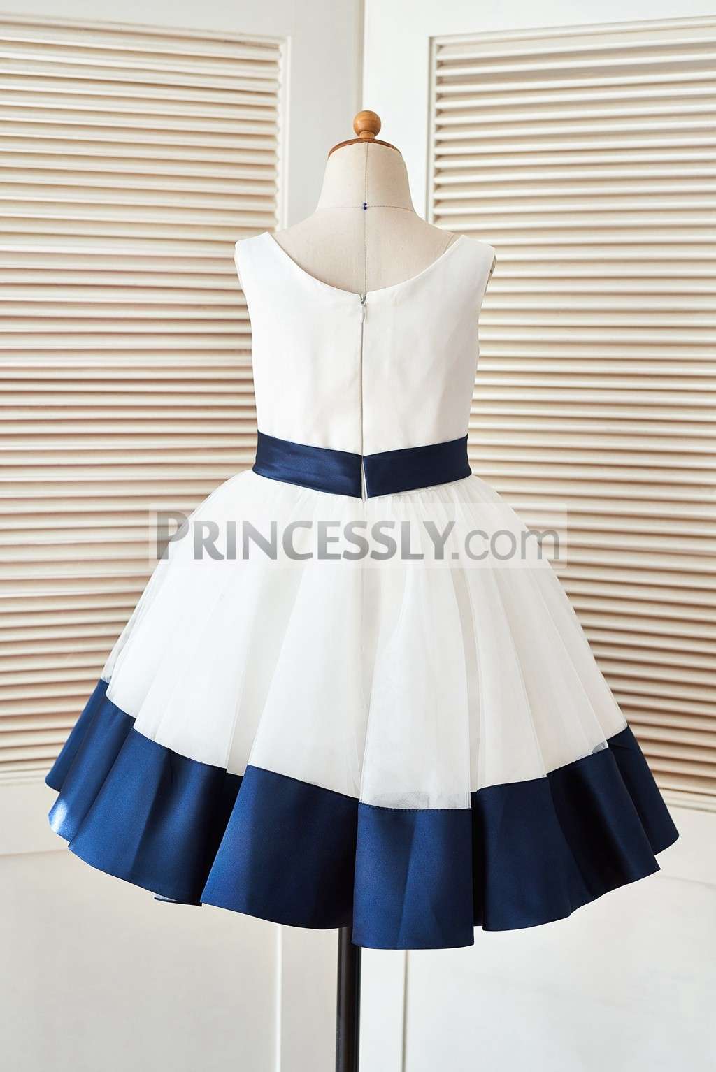f8f741c59502 Ivory Satin Tulle Flower Girl Dress with Navy Blue Belt Bow & Hem ...